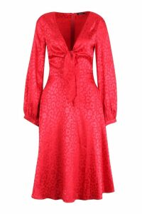 Womens Knot Front Flared Sleeve Jacquard Midi Dress - 10, Red