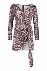 Womens Plunge Front Wrap Detail Mini Dress - Pink - 6, Pink