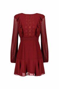 Womens Embroidered Dobby Chiffon Ruffle Detail Mini Dress - 10, Red