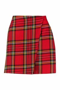 Womens Woven Tartan Check Wrap Mini Skirt - red - 10, Red