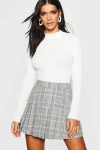Womens Woven Check Pleated Kilt Mini Skirt - grey - 14, Grey