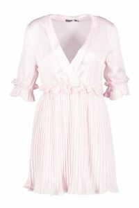 Womens Satin Pleated Plunge Neck Skater Dress - pink - 16, Pink