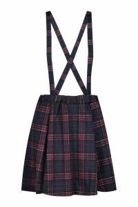 Womens Tartan Check Pinafore Skirt - navy - 12, Navy