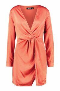 Womens Satin Twist Knot Detail Dress - orange - 10, Orange