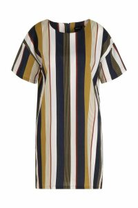 Womens Tonal Stripe Short Sleeved Shift Dress - yellow - 16, Yellow
