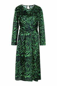 Womens Satin Zebra Twist Front Midi Dress - green - 14, Green