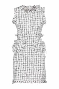 Womens Tweed Frayed Edge Mini Pinafore Dress - white - 8, White