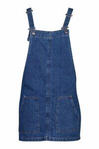 Womens Pocket Front Denim Pinafore - blue - 14, Blue