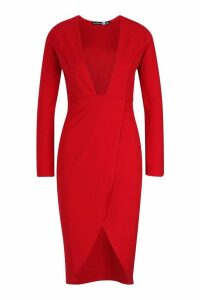 Womens Plunge Front Thigh Split Midi Dress - red - 6, Red