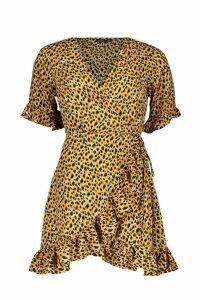 Womens Ruffle Leopard Print Dress - brown - 10, Brown