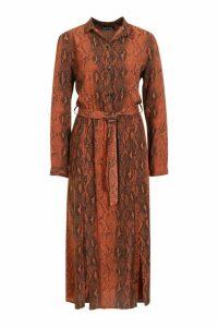 Womens Chocolate Snake Button Through Midi Dress - brown - 12, Brown