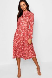 Womens High Neck Long Sleeve Dalmatian Print Midi Dress - red - 16, Red