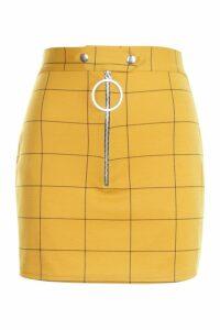 Womens Waist Detail Check Mini Skirt - yellow - 12, Yellow