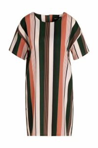 Womens Tonal Stripe Short Sleeved Shift Dress - pink - 16, Pink