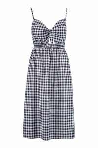 Womens Gingham Tie Front Cotton Mix Midi Dress - black - 12, Black