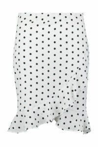 Womens Polka Dot Ruffle Hem Mini Skirt - white - L, White