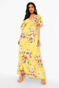 Womens Cap Sleeve Shirred Waist Floral Maxi Dress - yellow - 10, Yellow