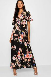Womens Cap Sleeve Shirred Waist Floral Maxi Dress - black - 8, Black