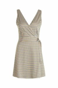 Womens Checked V-Neck Wrap D Ring Detail Skater Dress - yellow - 14, Yellow