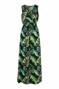Womens Tropical Print Wrap Front Maxi Dress - black - 10, Black