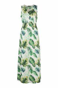 Womens Tropical Print Wrap Front Maxi Dress - white - 12, White