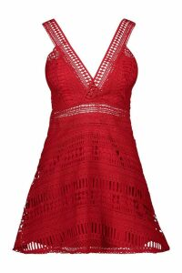Womens Lace Plunge Neck Skater Dress - red - 10, Red