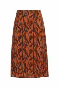 Womens Zebra Split Midi Skirt - brown - 14, Brown