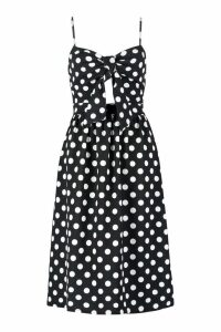 Womens Knot Front Polka Dot Midi Dress - black - 14, Black