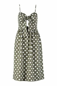 Womens Knot Front Polka Dot Midi Dress - green - 14, Green