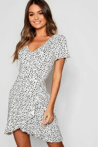 Womens Dalmatian Print Ruffle Tea Dress - white - 16, White