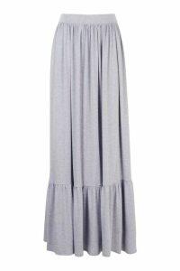 Womens Tiered Floor Sweeping Maxi Skirt - grey - 10, Grey