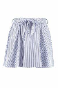 Womens Tie Waist Woven Stripe Skater Skirt - blue - 8, Blue