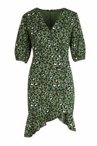Womens Leopard Print Button Detail Frill Shift Dress - green - 12, Green