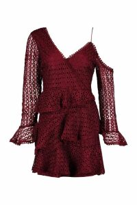 Womens Crochet Lace Ruffle Skater Dress - red - 16, Red