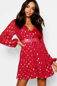 Womens Wrap Front Metallic Polka Dot Skater Dress - red - 16, Red