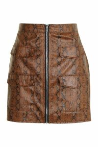 Womens Snake Print Leather Look A Line Mini Skirt - brown - 16, Brown