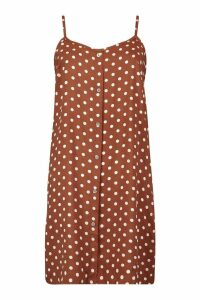 Womens Polka Dot Button Through Cami Mini Dress - brown - 14, Brown