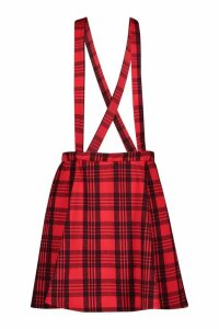 Womens Tartan Check Pinafore Skirt - red - 14, Red