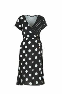 Womens Mixed Polka Dot Button Front Midi Dress - black - 10, Black