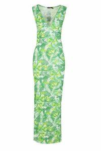 Womens Plunge Front Jersey Maxi Dress - green - 8, Green