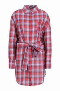 Womens Belted Check Shirt Dress - red - 10, Red