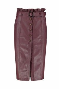 Womens Leather Look Mock Horn Button Paperbag Midi Skirt - red - 8, Red