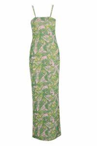 Womens Palm Print Square Neck Maxi Dress - green - 12, Green