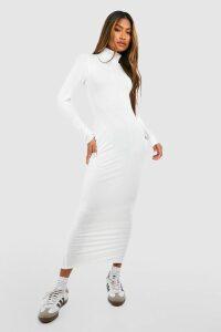 Womens Jumbo Rib Roll Neck Midi Dress - cream - 16, Cream
