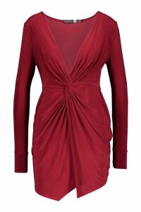Womens Slinky Twist Front Long Sleeved Mini - red - 16, Red