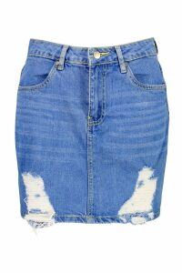 Womens Denim Distressed Mini Skirt - blue - 8, Blue