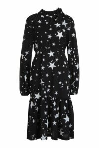 Womens Tie Neck Star Print Midi Dress - black - 10, Black