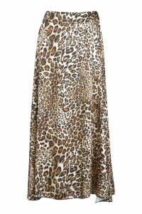 Womens Asymmetric Leopard Midi Skirt - beige - 12, Beige