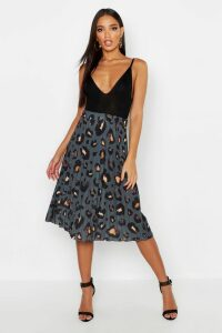 Womens Pleated Leopard Print Midi Skirt - grey - 8, Grey