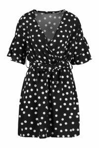 Womens Large Polka Dot Floral Tea Dress - black - 8, Black